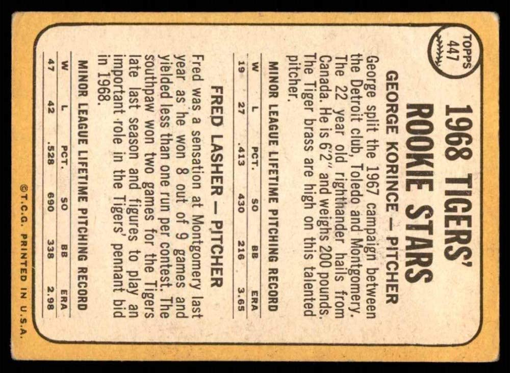 Baseball Card 1968 Topps # 447 Tigers Rookies George Korince//Fred Lasher Detroit Tigers VG Tigers