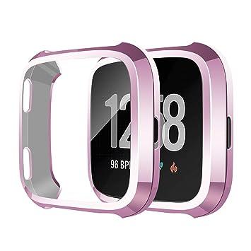 SYOSIN Compatible con Fitbit Versa Protector Pantalla Funda Suave TPU Cubierta Completa para Fitbit Versa Smartwatch (Oro Rosa)