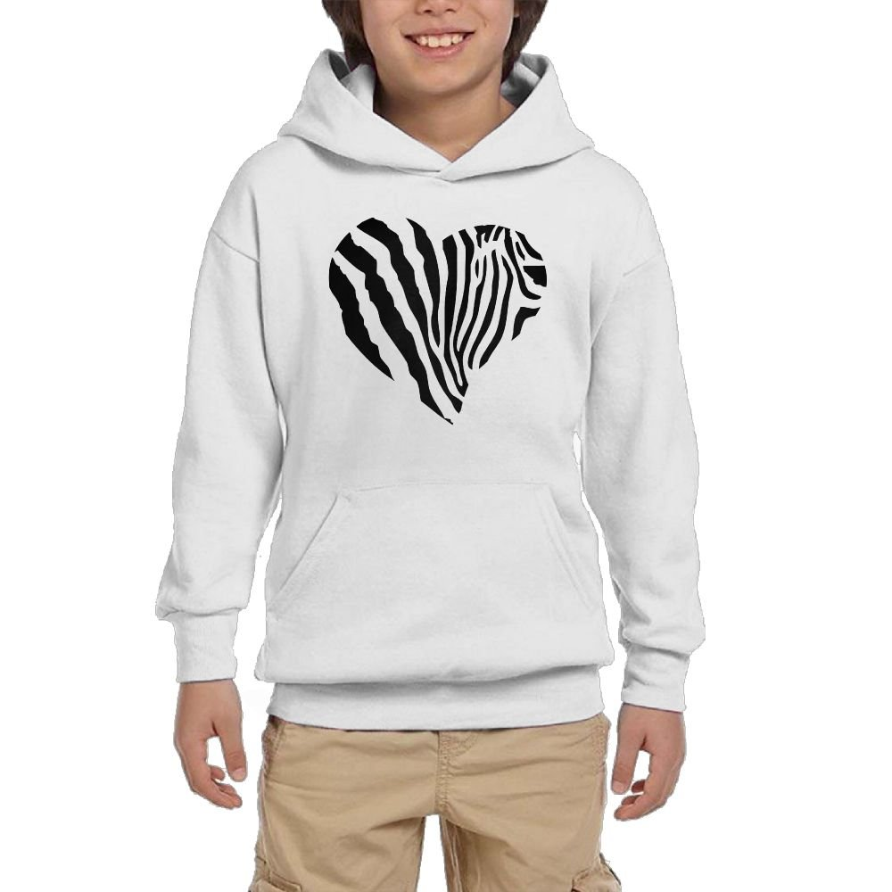 Artphoto Youth's Vintage Zebra Heart Hoodies Sweatshirt Suitable for 10 to 15 Years Old  M White by Artphoto