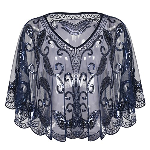 Kayamiya Women's Evening Shawl Wraps 1920s Sequin Beaded Cape Cover Up Navy
