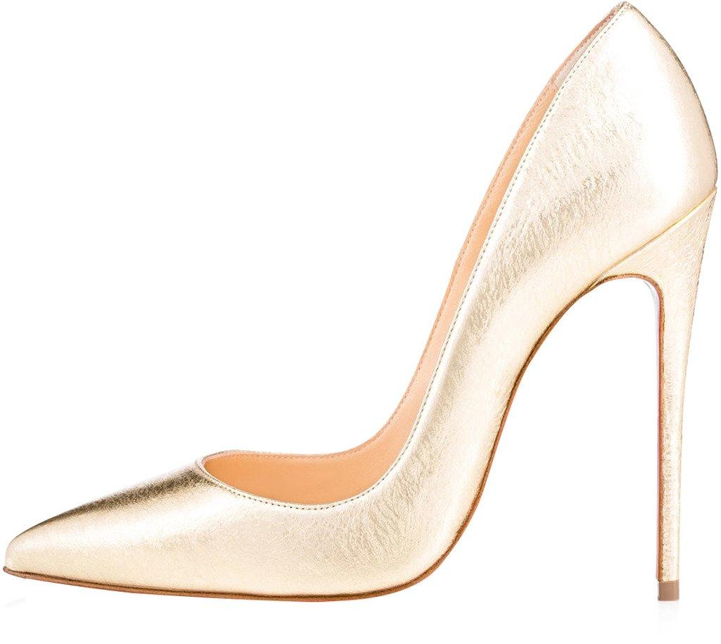 Calaier Damen Schlüpfen Caover 12CM Stiletto Schlüpfen Damen Pumps Schuhe Gold 90b6b3