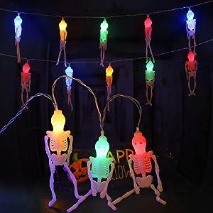 Halloween Decoration, Halloween Skeleton Skull String Lights, 2 Lighting Modes Battery Powered Outdoor String Lights, Spooky Halloween Lights for Party Patio Halloween Decor - 20 LEDs (Skeleton frame)