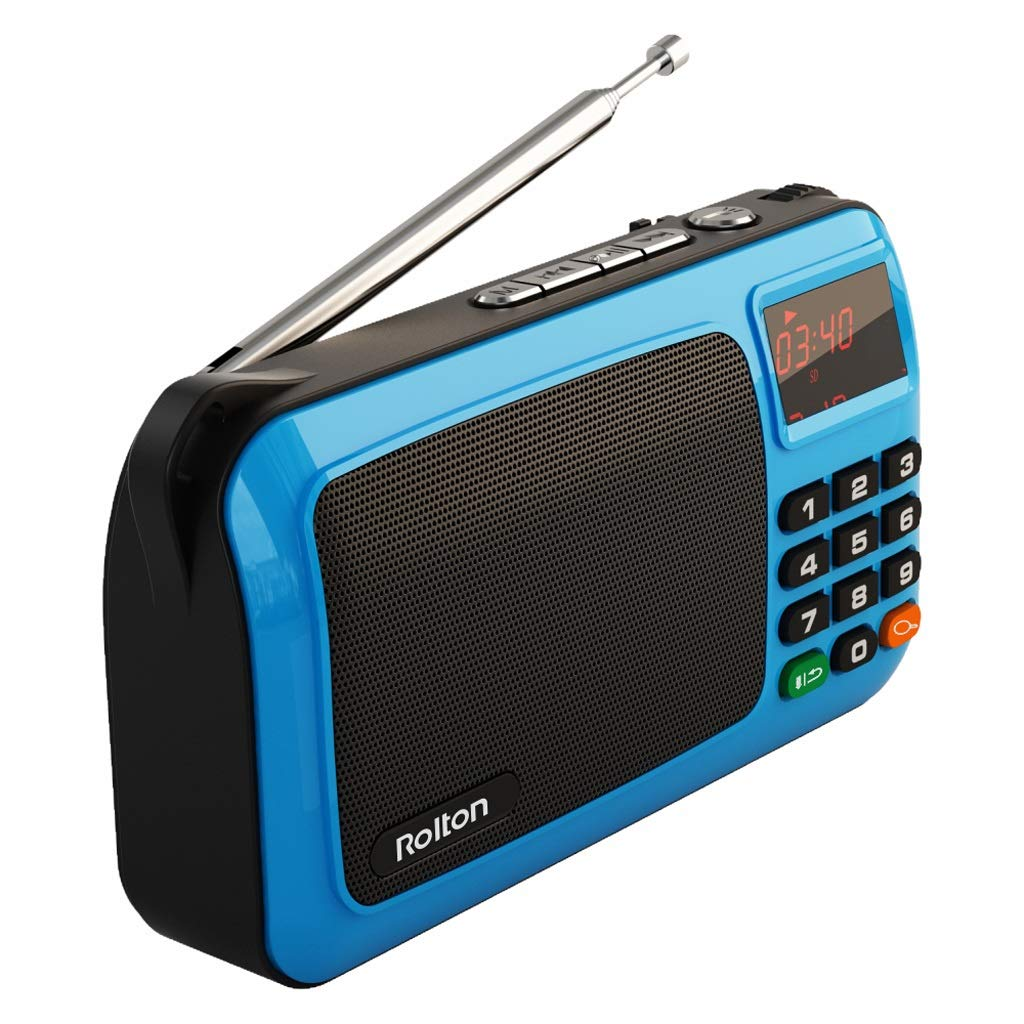 ZWS Radio Portable Mini FM Radio Speaker Music Player TF Card USB for PC with LED Display Current Affairs Information (Color : Blue)