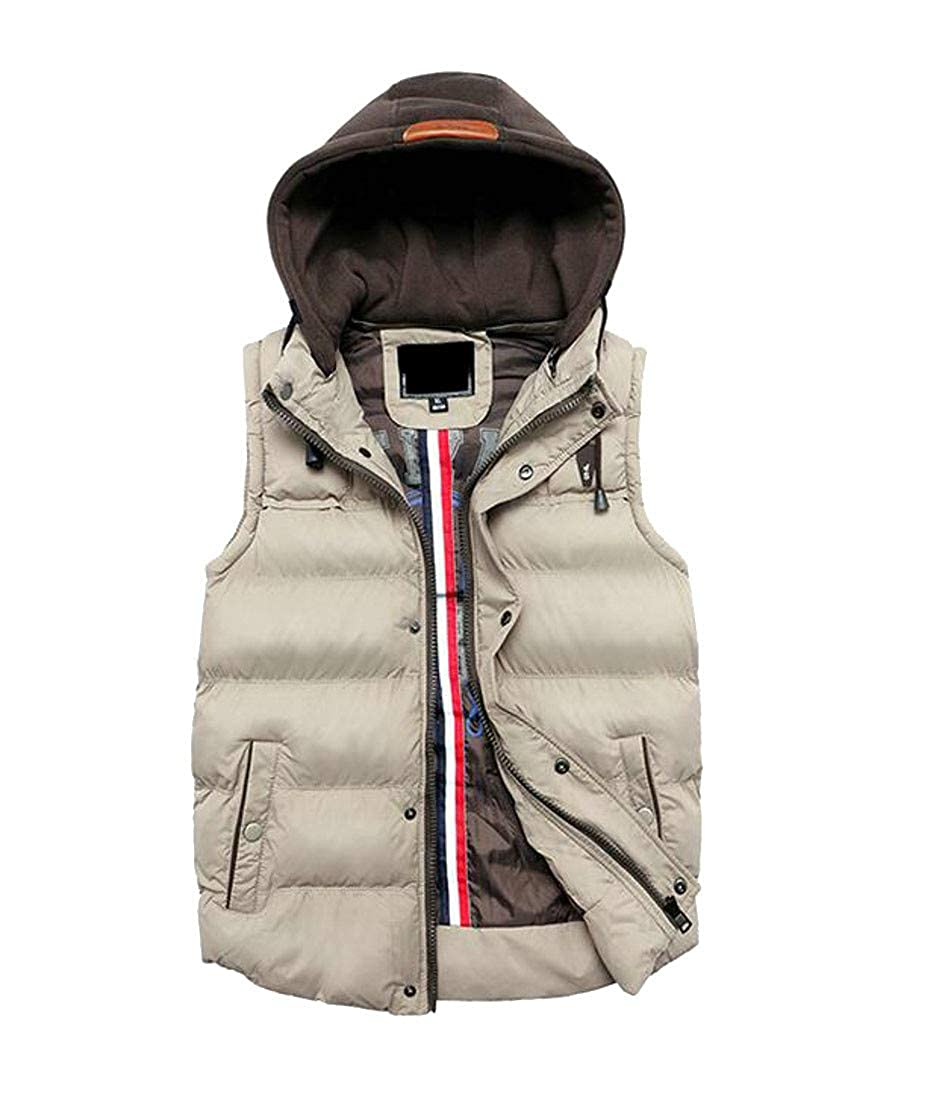 Sweatwater Mens Cotton-Padded Splice Quilted Warm Hooded Slim Vest