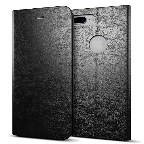 Apple iPhone 7 plus Pu Flip Black case by MTT