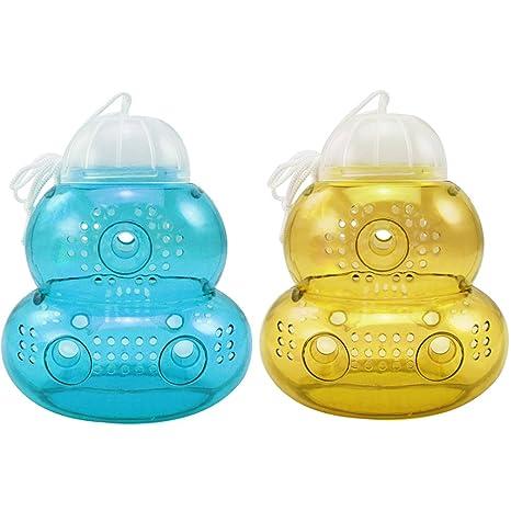 com-four® 2X Trampa para Insectos de plástico para Colgar, Avispas, Mosca y Avispa para Exteriores [Color varía!] (02 Piezas - Colorido 15 cm)