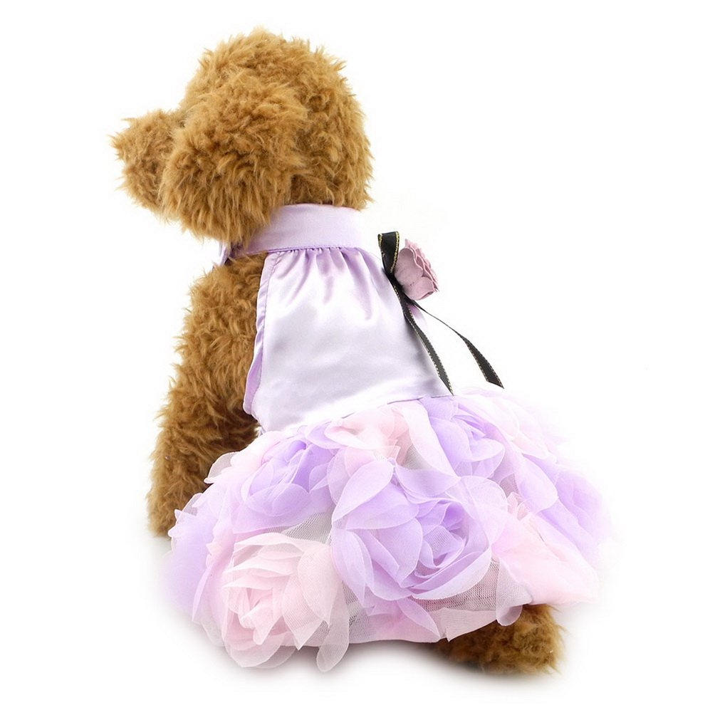 SELMAI Princess Floral Satin Rose Small Dog Cat Wedding Dress Pet Formal Skirt Lace Puppy Vest Shirts Sundress Chihuahua Clothes Apparel Purple XS