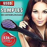 Allwithone Hair Straightener Brush - No Static - Dandruff free - Ceramic Hair Heating Straightening Brush (Purple-USED)
