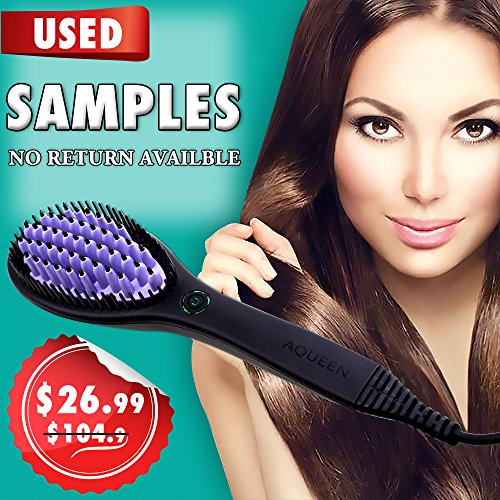 Allwithone Hair Straightener Brush - No Static - Dandruff free - Ceramic Hair Heating Straightening Brush (Purple-USED) by Allwithone