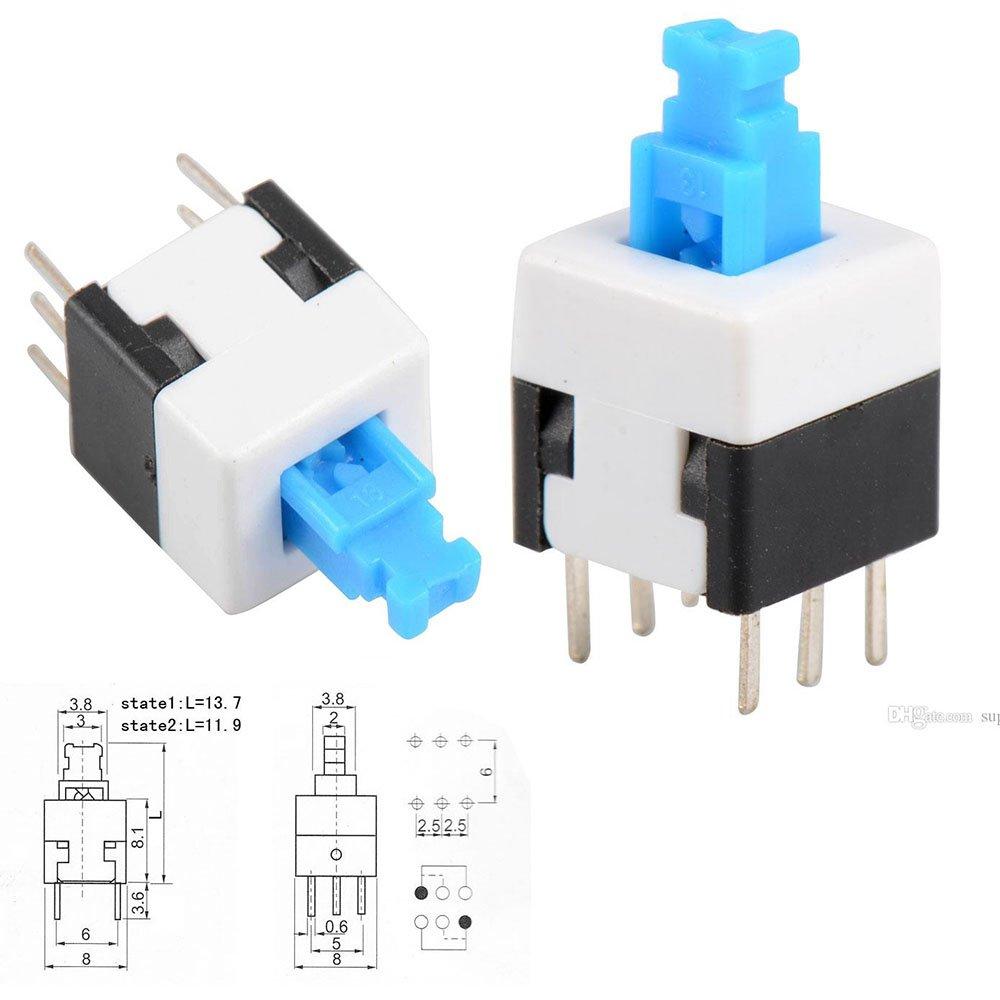 10 pcs Preptec 8 x 8 mm PCB tactile Push Button Switch Self verrouillage verrouillage DPDT 6 broches Dip PR886PIN