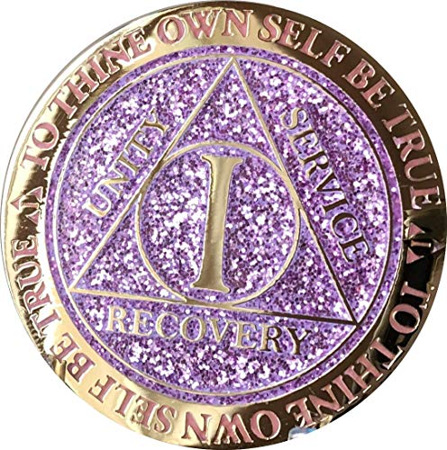 1 Year AA Medallion Reflex Lavender Purple Glitter Gold Plated Color -