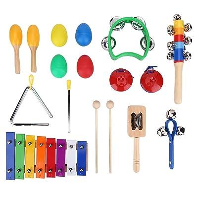 17Pcs Set de Instrument de Percussion pour Enfants Kit Jouet Xylophone Musique Cadeaux Educatif Jeux d'Orchestre Rythme avec Sac de Rangement