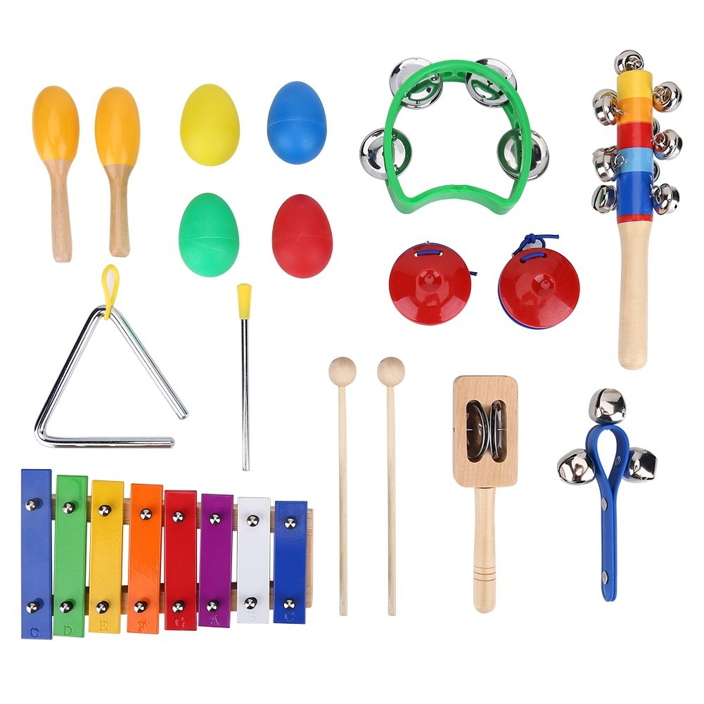 17Pcs Kids Educational Percussion Musical Instruments Xylophone Toy Set with Storage Bag VGEBY