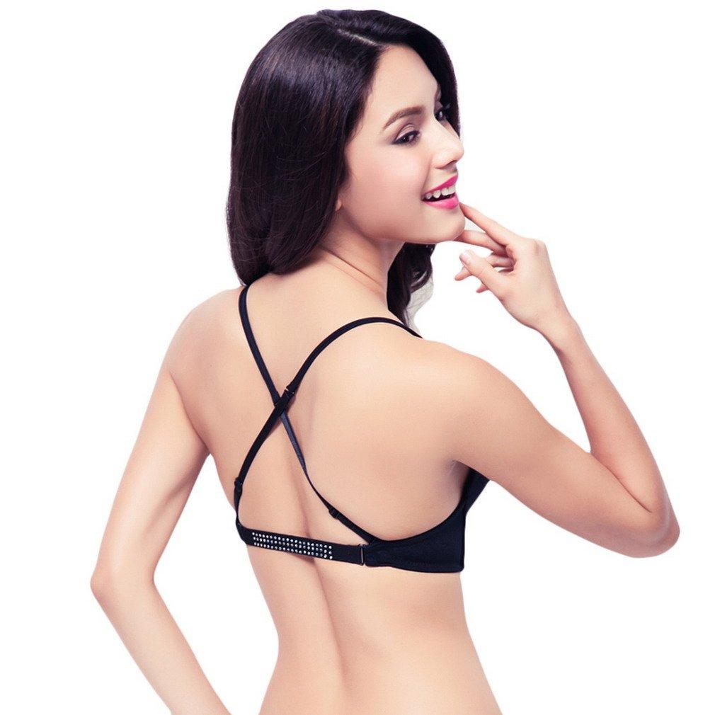 V-SOL Sujetadores Push Up Mujer Forma U Para Vestido Escote V Negro Busto Bajo 80cm: Amazon.es: Ropa y accesorios