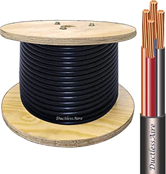 100 ft 14 4 awg control cable for ductless mini split air conditioner heat pump systems; 14 awg 4 conductor color coded stranded heat pump wiring diagram wiring diagram for central air unit