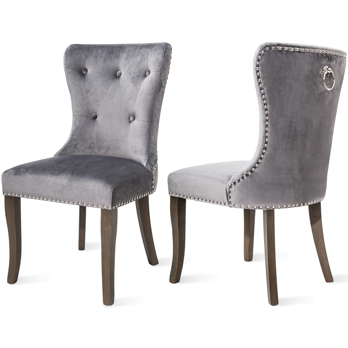 Harper Bright Designs Victorian Dining Chair Upholstered Accent Chair Velvet Grey