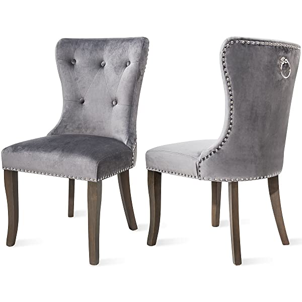 Dining Chairs Set of 2, Upholstered Accent Chair Button Tufted Armless Chair with Nailhead Trim and Back Ring Pull, Velvet Grey