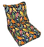 Blue, Red, Yellow, Pink, Green, Orange Ash Hill Garden Birds Cushion for Patio Outdoor Deep Seating Furniture Chair - Choice of Size (SEAT CUSHION - 22'' W X 22'' D / BACK CUSHION - 22'' W X 21'' D)