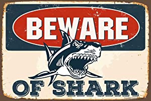 Angeloken Retro Metal Sign Vintage TIN Sign Beware of Shark Sign for Plaque Poster Cafe Wall Art Sign Gift 12 X 8 INCH