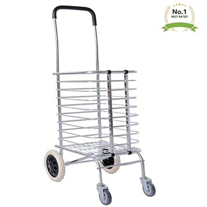 e655166bf3fc Xectes 4 Wheels Aluminum Folding Shopping Cart Trolley with Wheel Deluxe  Utility Cart