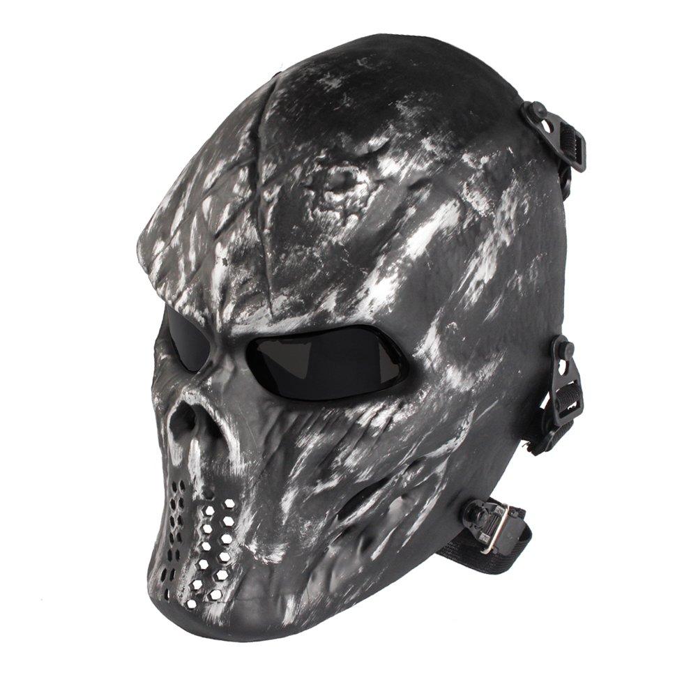 NINAT Airsoft Skull Masks Full Face - Tactical Mask Eye Protection for CS Survival Games BBS Shooting Masquerade Halloween Cosplay Movie Props Zombie Scary Skeleton Masks Silvergrey greylens by NINAT