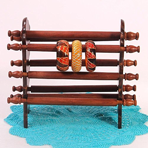 Womens Day Special Gift,Wooden Bangle Stand, 8 Rod Bracelet Stand, Brown Color Stand