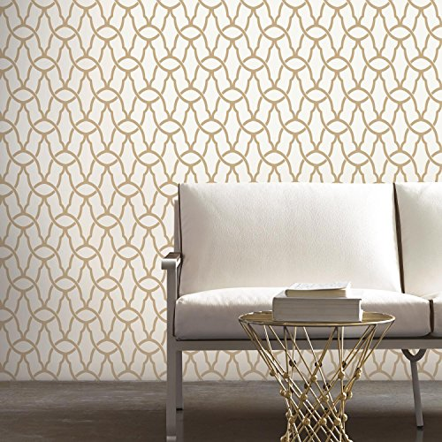 RoomMates Gold Trellis Peel and Stick Wallpaper