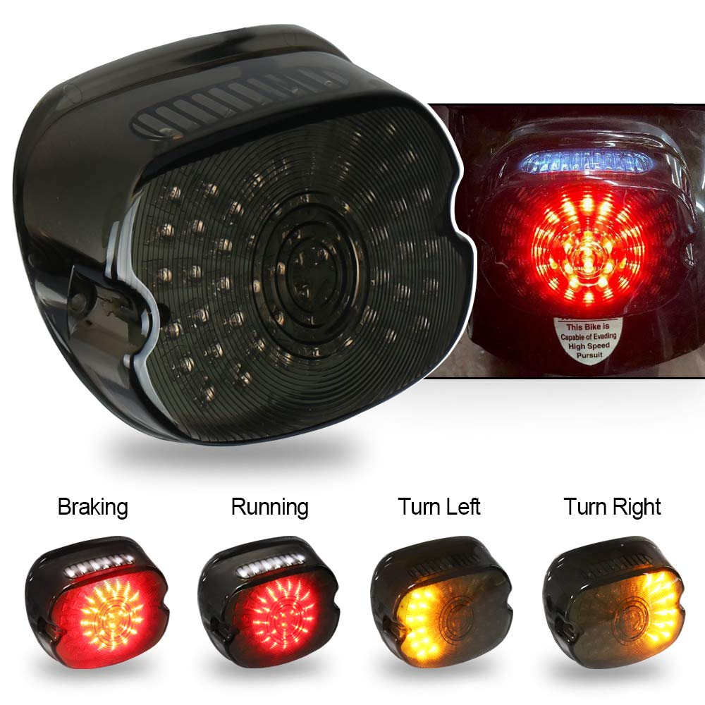 SEUYA Harley LED Tail Light Turn Signal Light Smoked Lay Down Type Motorcycle Taillights with Brake Signal Harley Davidson Driving Lights for Sportster Dyna Road King FLST FXD 1PCS by SEUYA