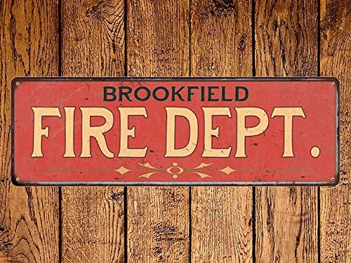 Acove Brookfield Fire Dept Vintage Look Metal Sign Chic Decor Retro   4X18 Inch
