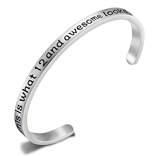900025d5740a4 FEELMEM Birthday Gifts for Her Birthday Bracelets,12th Sweet 16 18th  30th,Stainless Steel Engraved Cuff Bangle,Birthday Jewelry, Ideas