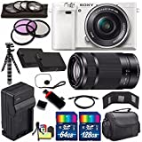 Sony Alpha a6000 Mirrorless Digital Camera with 16-50mm Lens (White) + Sony E 55-210mm f/4.5-6.3 OSS E-Mount Lens 196GB Bundle 27 - International Version (No Warranty)
