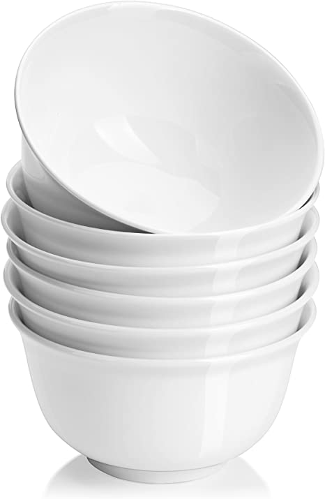 Dowan Soup Bowls For Kitchen White Deep Cereal Bowls 18 Ounces Classic Round Style Ceramic Bowls Set For Cereal Soup Oatmeal Dessert Dishwasher And Microwave Safe Set Of 6 Cereal Bowls