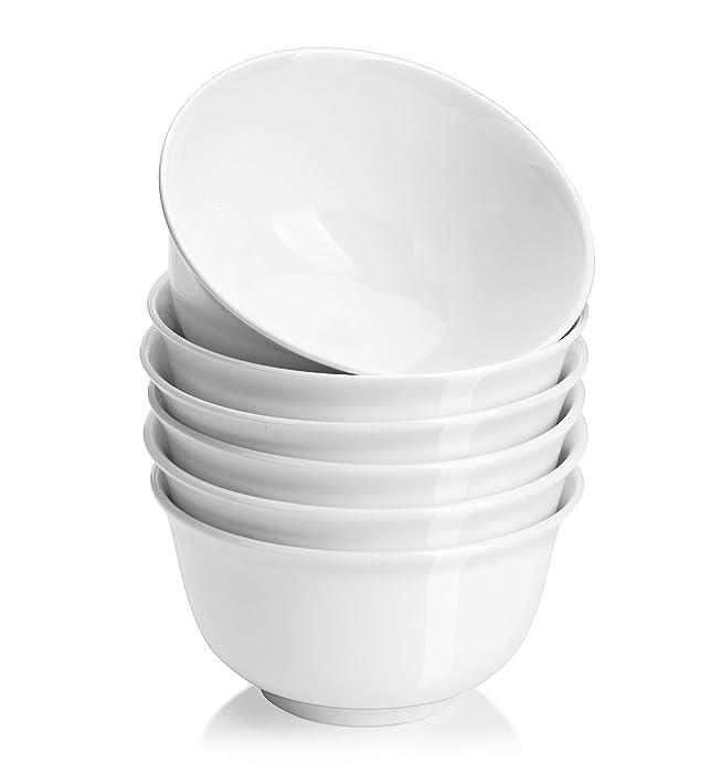 DOWAN 20 oz Porcelain Cereal/Soup Bowl Set - 6 packs, White, Deep