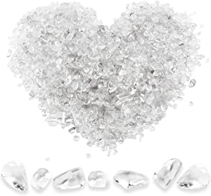 Twdrer 2lb/950g Small Natural Clear White Irregular Shaped Crystal Quartz Rock Tumbled Chips Crushed Stone Healing Reiki Crystal Gemstones for Garden Aquarium Vases Plants Decoration