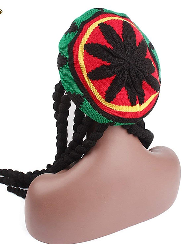 f0207f1bdeda1 Ababalaya Knitted Long Braid Rasta Hat Reggae Marley Jamaica African  Dreadlocks Cap Beanie at Amazon Women s Clothing store