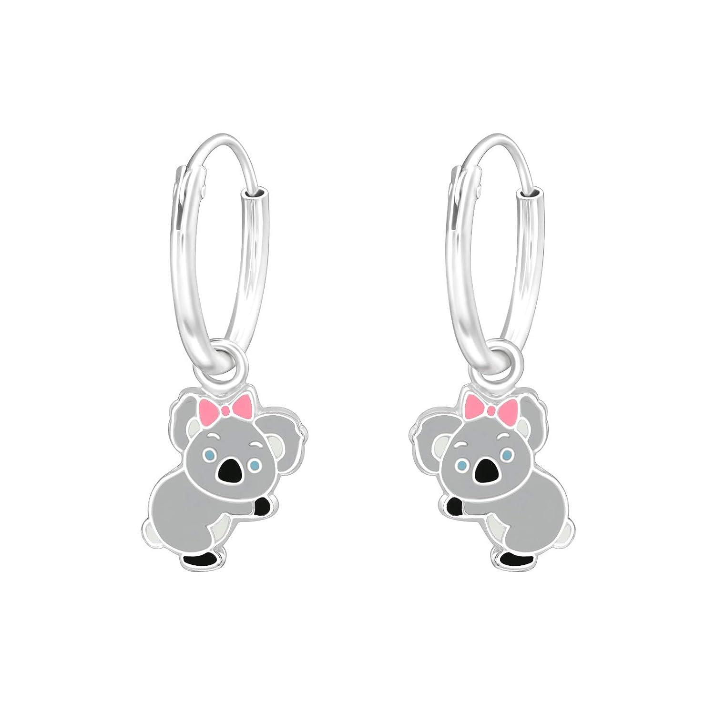 Orecchini da bambina in argento rodiato 925//000 e resina epossidica occhi blu Tata Gisele/© creola con il suo Koala grigia fiocco rosa 20 mm