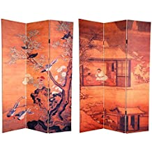 Oriental Furniture Simple, Subtle, Asian Art Print Room Divider, 6-Feet Tall Double Printed Chinese Landscapes Oriental Portable Dressing Screen