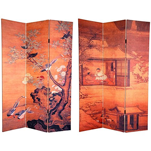 ORIENTAL FURNITURE 6 ft. Tall Double Sided Chinese Landscapes Canvas Room - Furniture Canvas