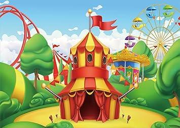 Yongfoto 2x1 5m Circus Telon De Fondo Ferris Rueda Juegos Infantiles