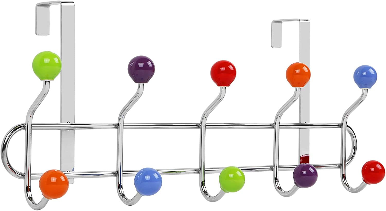 Galashield Over The Door Hook Multi Color Ceramic Knobbed Hooks and Stainless Steel Organizer Door Hanger Towel Rack