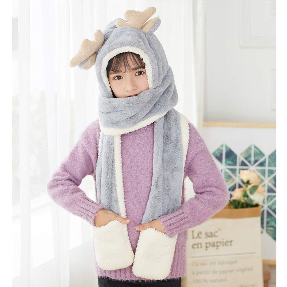 ACTLATI Kids Toddler 3 in 1 Set Antlers Beanie Hat Scarf Gloves Thick Plush Winter Warm