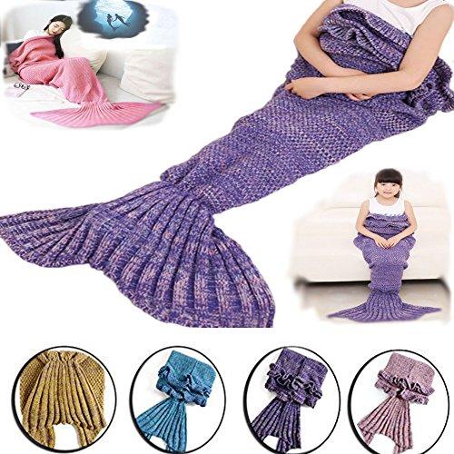 Feiuruhf Soft Mermaid Tail Blanket Handmade Living Room Sleeping Bag For Kids (purple)