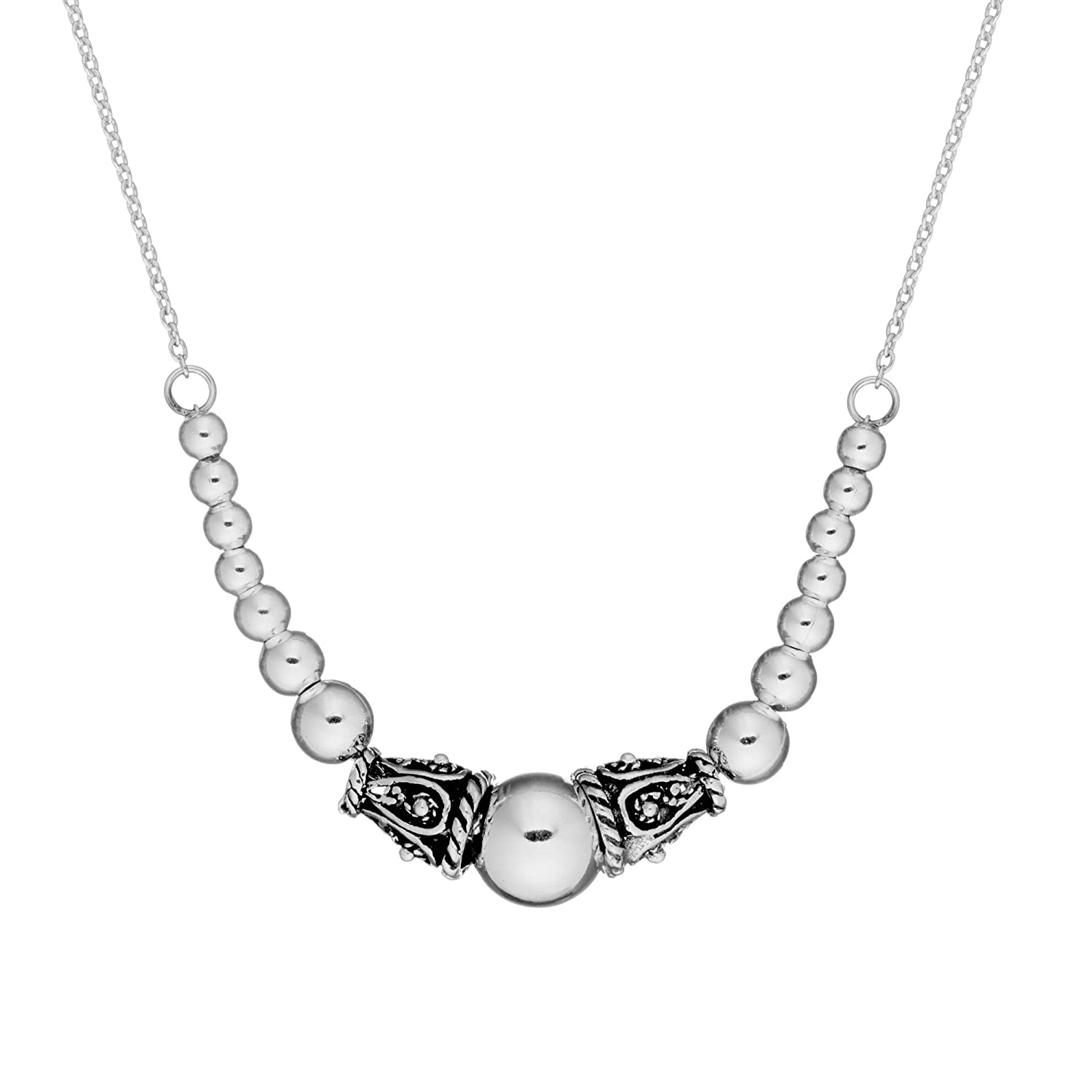 Silverly Women's .925 Sterling Silver Bali Beaded Ball Rolo Chain Necklace, 17 + 0.5 Extender 17 + 0.5 Extender 01rbSSN001