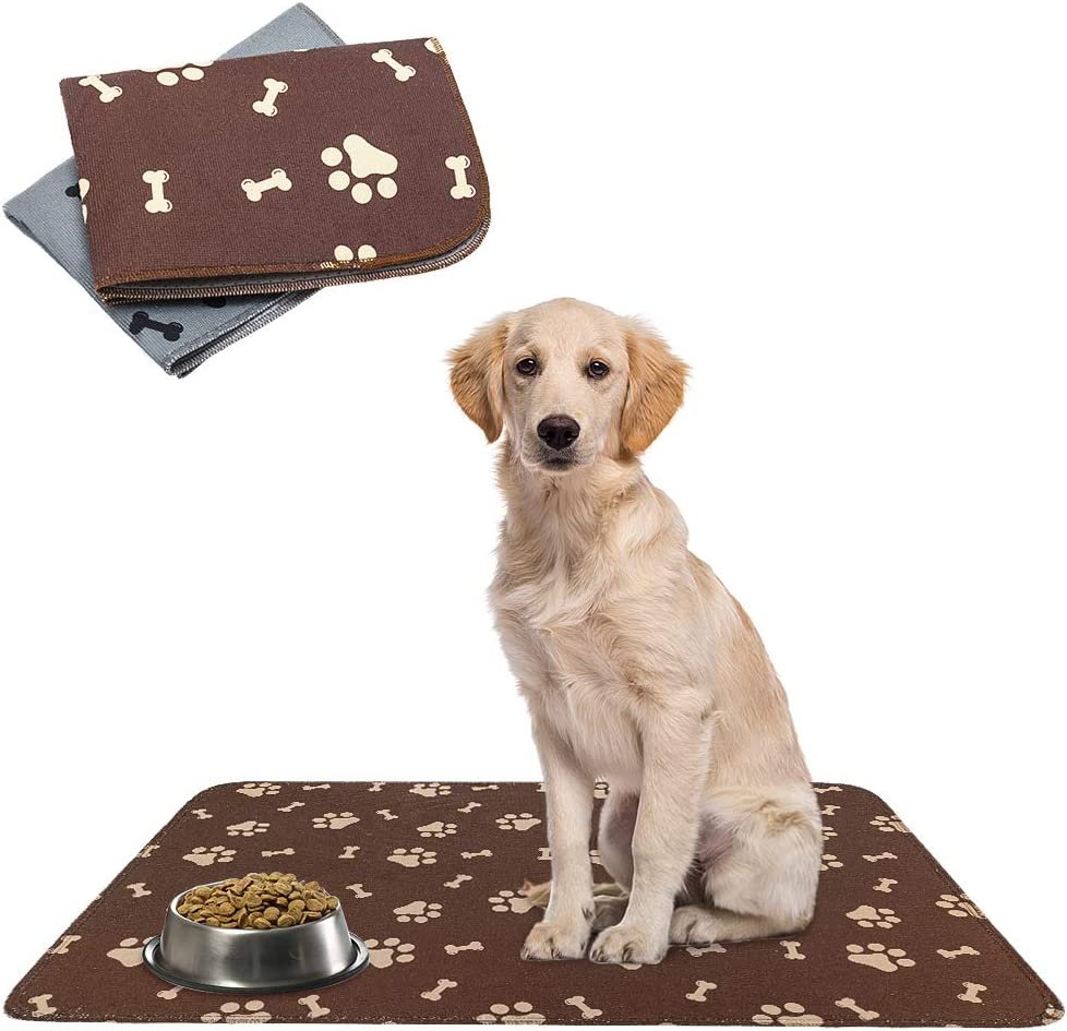 SCENEREAL Waterproof and Non-Slip Dog Food Mat - 2 Pack Pet Feeding Mat - Dog Mat for Bowls 2 Treat Mat for Dogs Cats