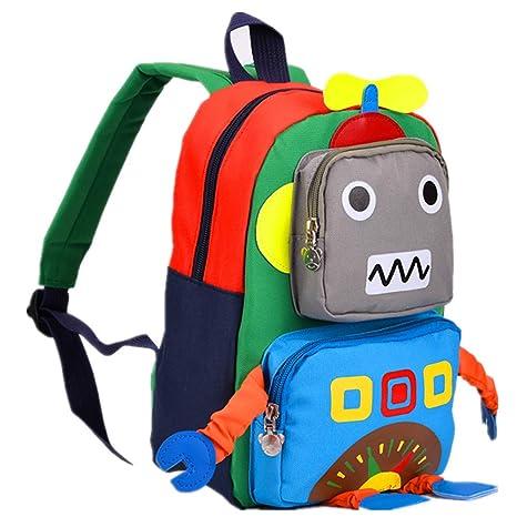 408a6e842def TeMan Kids Backpack Kindergarten Cartoon Schoolbag (Blue Robot)