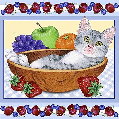 Fruit Bowl Kitten by Tomoyo Pitcher Laminated Art Print, 24 x 24 inches (Kitten Pitchers)