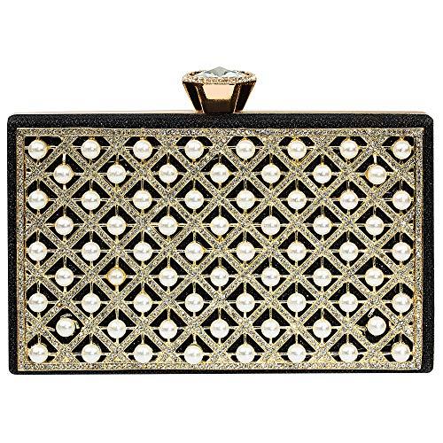 Evening Clutch, Pearl Beaded Evening Bag Night Purse Handbag For Women Wedding Prom Party(Black)