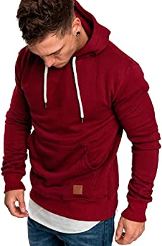 8eb4d6c02 Amazon.com: Dressin Big Mens Solid Casual Hoodie Autumn Winter Top ...