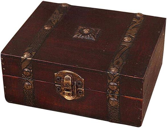 NOCM Caja de Almacenamiento de Joyas con Cofre del Tesoro de Madera Vintage Caja de Regalo Organizador Anillo Anillo, Rojo: Amazon.es: Hogar