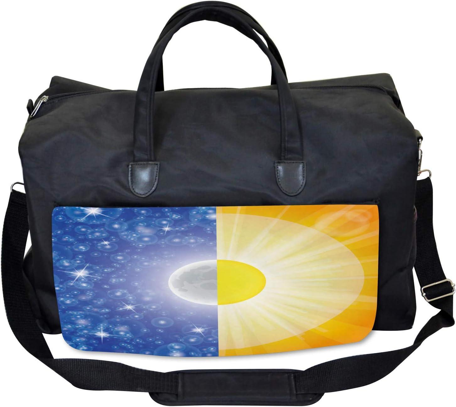 Ambesonne Gym Bag Large Weekender Carry-on Sun Beams Sky Stars